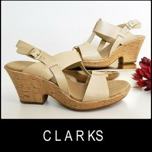 Clarks Women's Size 8 M Wedge Sandals Nude Nwot